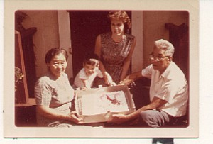 Ryo's 3rd birthday in Hawaii, with paternal grandparents and Mom.